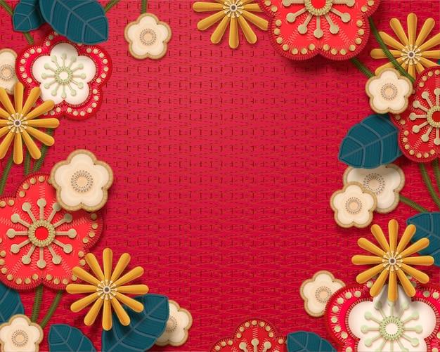 Bordado decorativo floral com fundo em tom vermelho