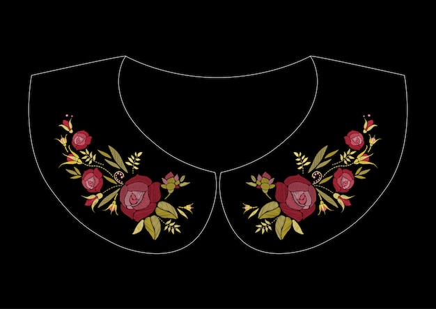 Bordado em ponto cetim com rosas. linha folclórica padrão floral na moda para a gola do vestido.