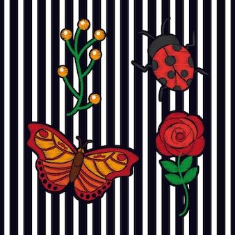 Bordado flor borboleta abelha e joaninha moda arranjo