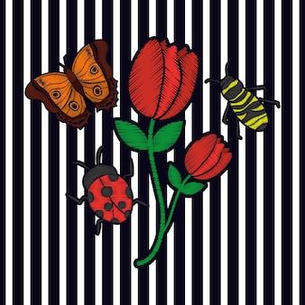 Bordado flor borboleta e abelha joaninha moda arranjo