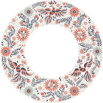 Bordado mexicano redondo padrão de quadro