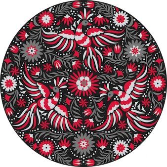 Bordado mexicano redondo padrão