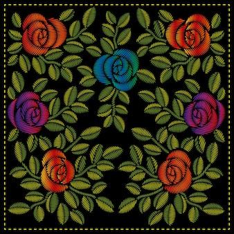 Bordado original de rosas e folhas