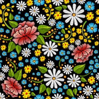 Bordado padrão sem emenda com flores.