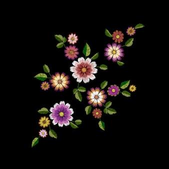 Bordado patch de moda de flor de verão realista