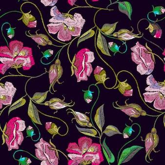 Bordado primavera flores sem costura padrão
