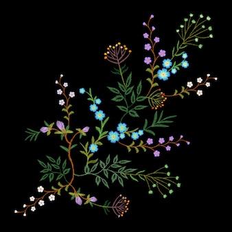 Bordado tendência floral padrão pequenos ramos erva folha