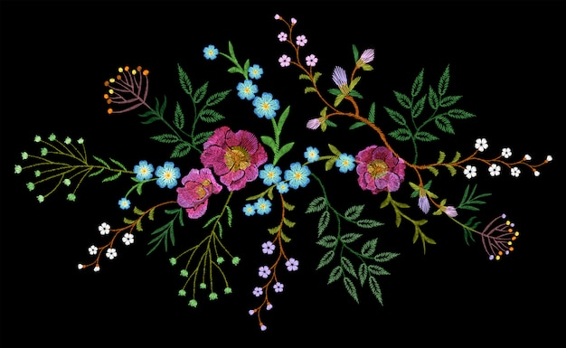 Bordado tendência floral padrão pequenos ramos erva rosa