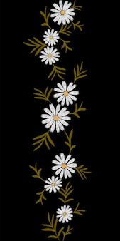Bordado tendência floral padrão sem costura borda pequenos ramos