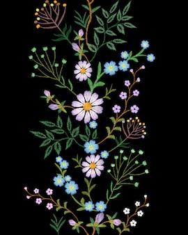 Bordado textura flor fronteira sem costura decoração de moda floral