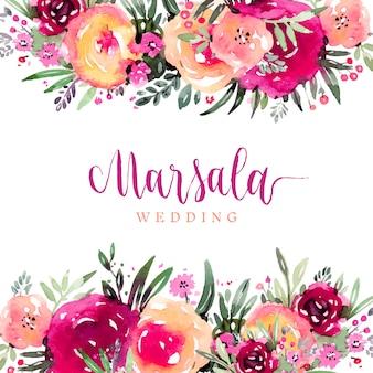 Bordas de aquarela floral em cores de marsala