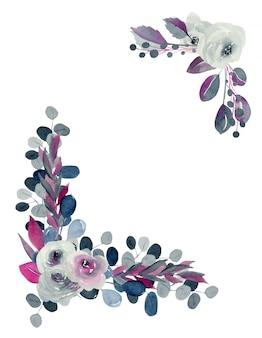 Bordas de canto floral de aquarela índigo e rosas e plantas carmesins, mão desenhada