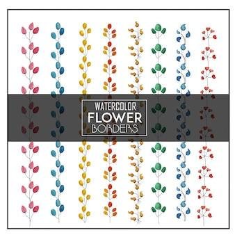 Bordas de flores de aquarela