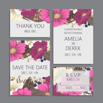 Bordas de flores de casamento conjunto flores rosa quente