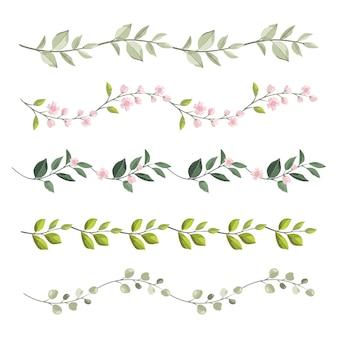 Bordas de flores e ramos