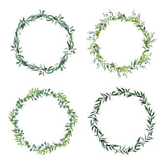 Bordas de folha redonda. coroa de folhas verdes do círculo, quadros florais, convite círculo decorativo. conjunto de ícones de decorações florais. quadro de folha verde, ilustração de vegetação de grinalda de fronteira