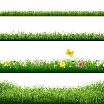 Bordas de grama definidas com ilustração de malha gradiente