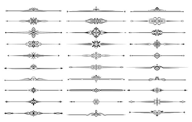 Bordas de linha, divisórias e linhas de quadro com ornamentos florais e tribais.