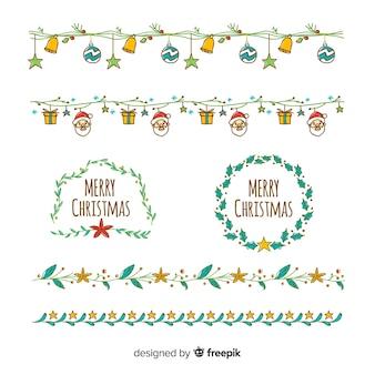 Bordas de natal original de mão desenhada