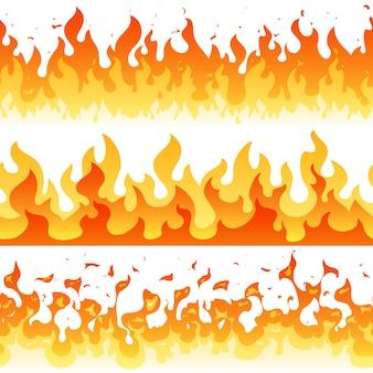 Bordas de quadro sem costura dos desenhos animados fogo chama vector