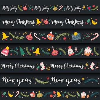 Bordas decorativas com ilustrações de doodle para o natal