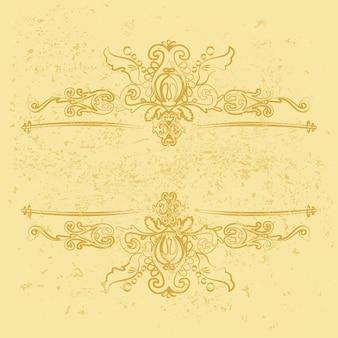 Bordas decorativas vintage douradas molduras horizontais estampadas em um fundo dourado de grunge