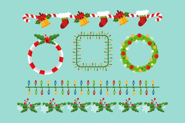 Bordas e molduras de natal de design plano