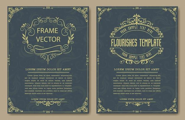 Bordas e molduras vintage decorativas defina vetor