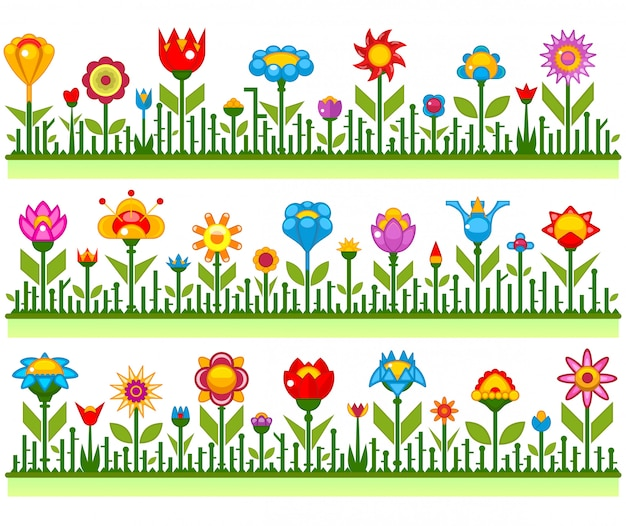 Bordas florais com ilustração abstrata de flores
