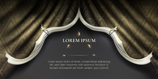 Bordas onduladas suaves brancas em cortina de tecido de seda dourada ondulada de fundo tailandês
