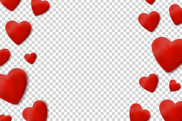 Bordas realistas com corações para decoração e cobertura no fundo transparente. conceito de feliz dia dos namorados, casamento e aniversário.