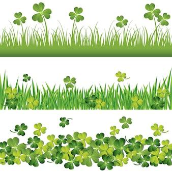 Bordas verdes do trevo definidas para o cartão do dia de são patrício