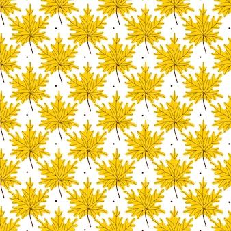 Bordo dourado amarelo folhas padrão sem emenda. padrão de outono com folhas caídas em um fundo branco. ilustração vetorial