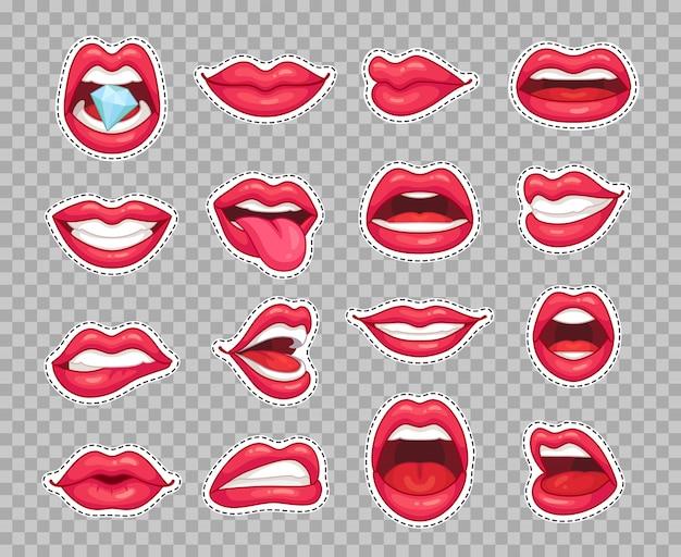 Bordos de lábios doces. adesivos de desenhos animados de moda vintage com garota mostrando a língua sorrindo