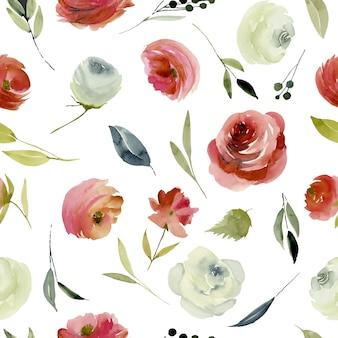 Borgonha aquarela e padrão de seamles rosas brancas