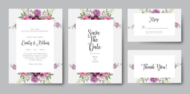 Borgonha corar cartão de convite de casamento floral aquarela
