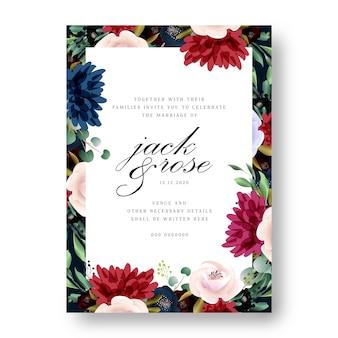 Borgonha e cora o cartão de casamento floral