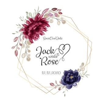 Borgonha e coram o cartão floral da aguarela