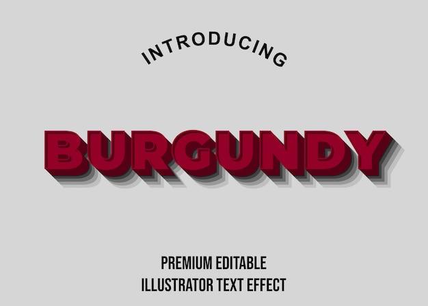 Borgonha - efeitos de fonte de estilo de texto 3d