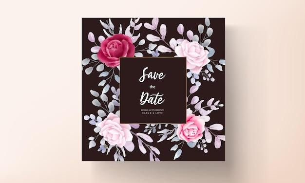 Borgonha elegante um cartão de convite de casamento em aquarela floral roxo