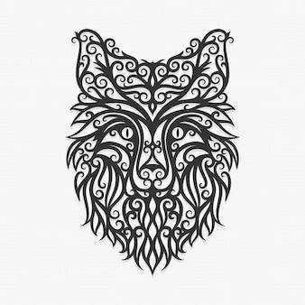 Borneo kalimantan dayak ornament fox ilustração