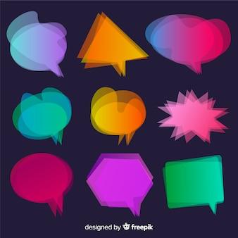 Borrão de movimento para coleção de bolha do discurso gradiente