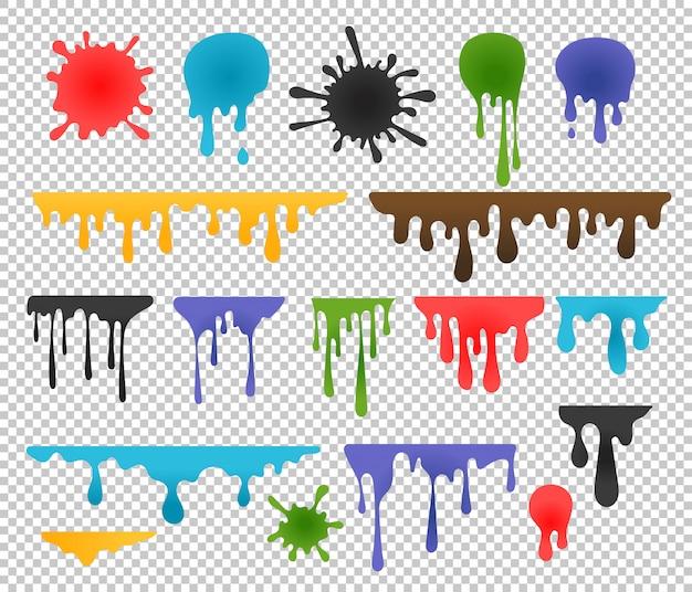 Borrões de tinta de cor e gotas
