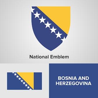 Bósnia e herzegovina mapa bandeira e emblema nacional