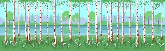 Bosque de bétulas com lírios do vale e um rio. fundo