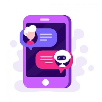 Bot de bate-papo fofo conversando com o homem em um smartphone