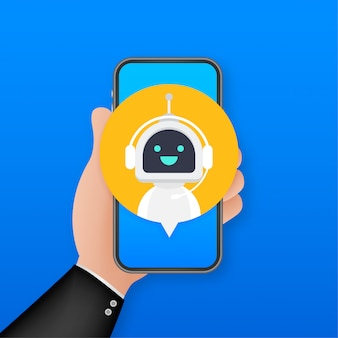 Bot de bate-papo usando no smartphone, assistência virtual de robô do site ou aplicativos móveis. bot de serviço de suporte de voz. bot de suporte online. ilustração.