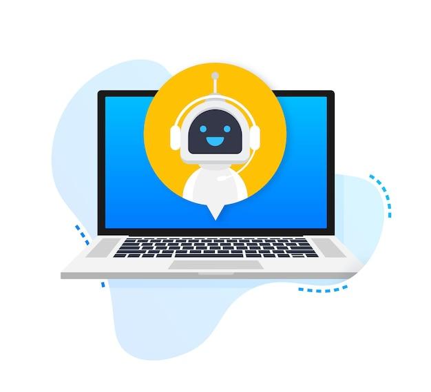 Bot de bate-papo usando robô de computador laptop assistência virtual de aplicativos para sites ou dispositivos móveis