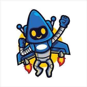 Bot de foguete dos desenhos animados