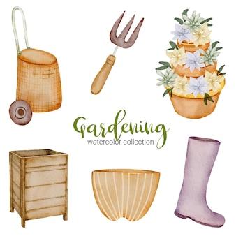 Bota, caixa de madeira, balde, lata, regador e pá, conjunto de objetos de jardinagem em aquarela sobre o tema jardim.